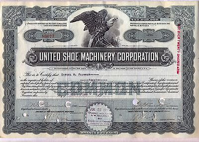 United Shoe Machinery Corporation Stock Certificate New Jersey