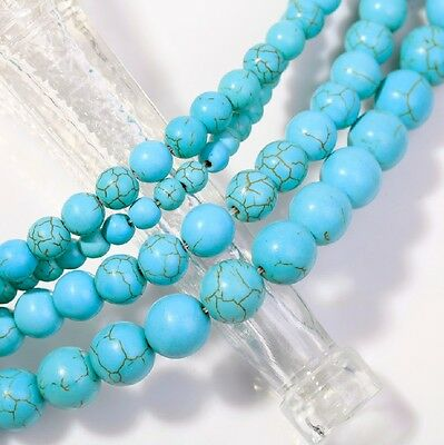 Wholesale Blue Turquoise Gemstone Round Loose Bead Beads 4/6/8/10mm To Choose