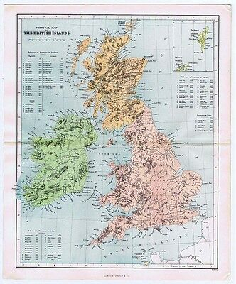 BRITISH ISLES Physical Showing Mountain Heights - Antique Map 1868 by Virtue