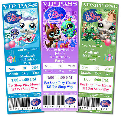 Personalized Little Pet Shop Birthday Tickets or 4x6 Invitations