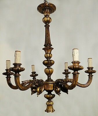 Antigua and Fabulous chandelier, Italian Carved Wood, Original Gold patina