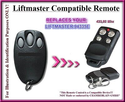 Liftmaster 94335E compatible remote control, 433,92Mhz replacement remote