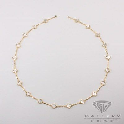 Handmade Gorgeous Mother-of-Pearl 20 four-leaf-clover necklace in gold 4-20MG