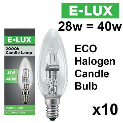 10 X E-Lux Dimmable Eco Halogen Energy Saving Candle Light Bulbs 28W=40W