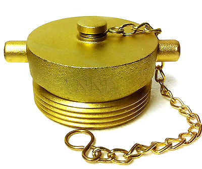 "2-1/2"" Male NST NH Fire Hose Hydrant Plug with Chain Brass plated cast Aluminum"