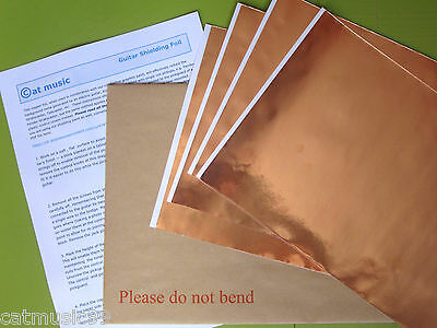 GUITAR COPPER SHIELDING FOIL TAPE - 20x30cm Self-Adhesive 2,3,4 or 5 Sheet Pack