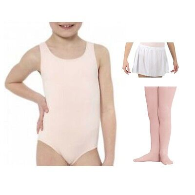 Danskin 2903 Girls' INT (6x-7) Pink Tank Leotard Footed Tights and White Skirt
