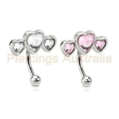 16G 8mm Triple CZ Love Heart Eyebrow Bar Ring Barbell Body Piercing Jewellery