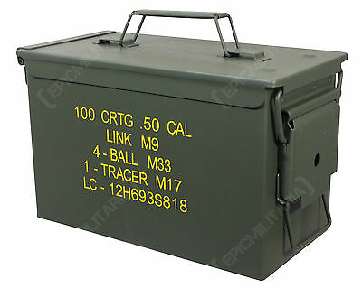 NEW .50 Cal US Army M2A1 METAL AMMO CAN - Ammunition Tin Storage Container Box