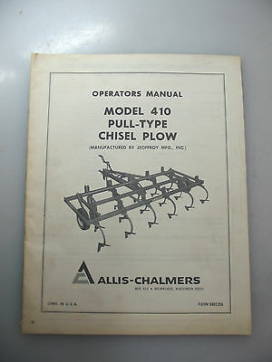 Allis-Chalmers Operator's Manual For 410 Pull-Type Chiselplow
