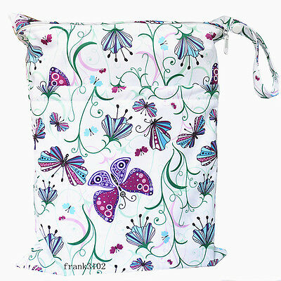 1 Purple Butterfly Wet Dry Bag Baby Cloth Diaper Nappy Bag Reusable Two Zippers
