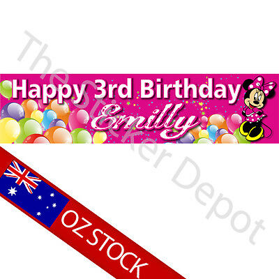 Minnie Mouse 2 Personalised Birthday Banner – Add your name and age!