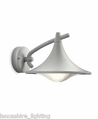Modern Outdoor Wall Light In Metalic Grey Finish Energy Saving IP44 By Philips