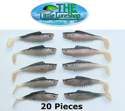 70mm LLS Ripple Mullet Shad Soft Plastic Fishing Lures Bream Flathead Bass