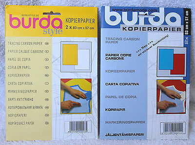 BURDA Carbon Tracing Paper Yellow & White or Blue & Red Copy Paper