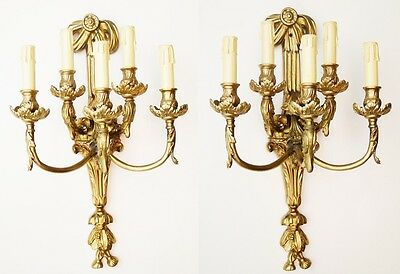 Pair of excelents sconces French style solid and golden Bronze for 5 lights