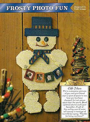 FROSTY PHOTO FUN FRAME SNOWMAN PLASTIC CANVAS PATTERN ONLY FROM A BOOK