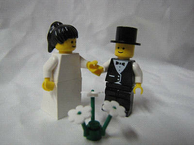 BLACK HAIR BRIDE AND BROWN HAIR GROOM WITH TUX NEW LEGO WEDDING MINIFIGURES
