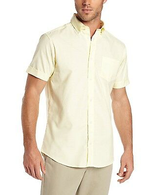 b04881fec Men's Lee Yellow Oxford Shirt Button Down Short Sleeves Uniform Sizes S to  2XL
