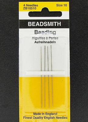 "R76 Beadsmith Pebble 0.018/"" Size 10 English Beading Needles Pack of 4"