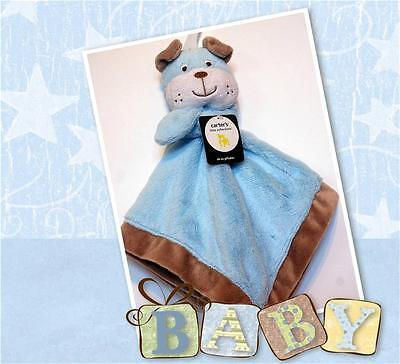 NEW CARTERS BLUE PUPPY DOG BULLDOG LOVEY WITH BABY BLUE SECURITY BLANKET NWT HTF