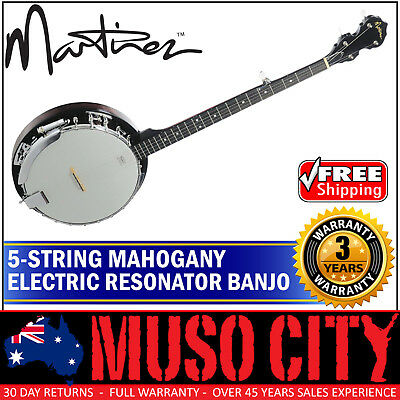 New Martinez 5 String Traditional Mahogany Electric Resonator Banjo (Gloss)
