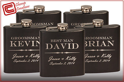 Groomsmen gift - 5 personalized hip flasks - custom wedding party bridesmaid