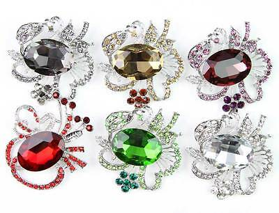 6 pcs/lot Hot Sale New Fashion Mixed Colors Jewelry Glass & Alloy Brooch Pin