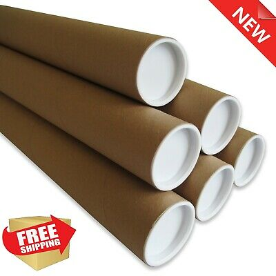 Strong Cardboard Postal Tubes - A4 A3 A2 A1 Size with Plastic End Caps Included