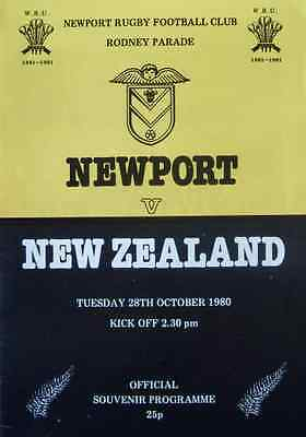Newport v New Zealand 1980 Rugby Programme