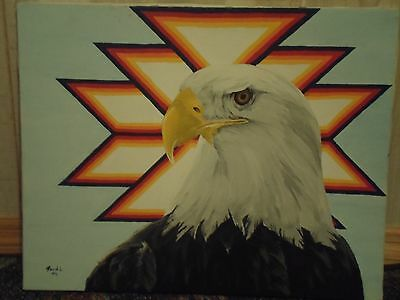 Native American Tuscarora Oil Painting David Locklear Signed American Eagle