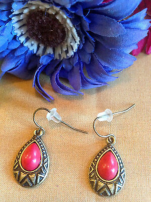 Vintage Retro Gold Tone & Red Stone Dangle Hook Earrings C 1970's- Hippie Style