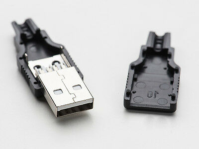 2pcs USB Type A Male DIY Connector Plug Jack Cable Wire Replacement w/ Shell