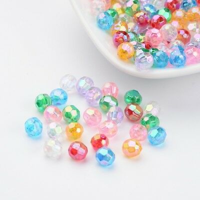 200 pcs 6mm AB Color Transparent Acrylic Faceted Round Beads For Jewelry Making
