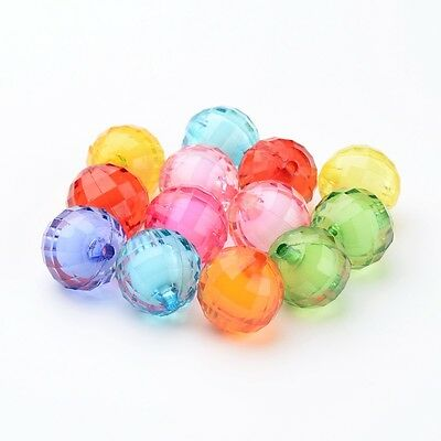 20 x Bead in Bead Chunky Bubblegum Transparent Acrylic Faceted Round Beads 20mm