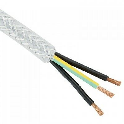 BRAIDED SY CABLE 1MM 3 CORE TRANSPARENT CLEAR FLEX 100 METER DRUM