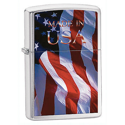 Zippo Lighter Made In Usa Flag Brushed Chrome 24797