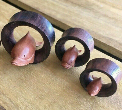 PAIR Dolphin Wood Saddle Tunnels Hand Carved Saba Sono Plugs - 19mm thru 35mm