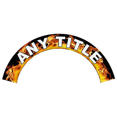 Any Title Rank Name Printed in Flames Helmet Crescent Reflective Decal Sticker