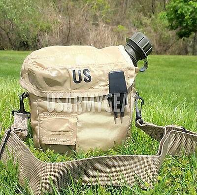 2 QT Collapsible Water Canteen + Desert Tan Cover Pouch w Sling US Army Military