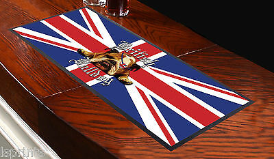 British Bull Dog Union Jack Bar Runner Ideal For Home Cocktail Party Pub Beer