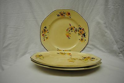 Homer Laughlin 3 Dinner Plates With Black Leaves (1930)/Priced Reduced