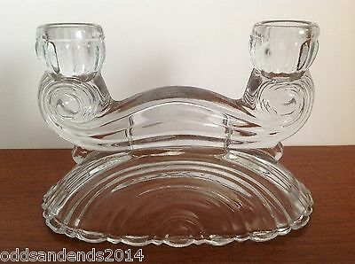 Vintage Clear Pressed Glass Crystal Double Candlestick Holders 4.5 inches Tall