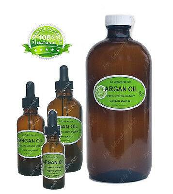 Glass Bottles 100% Pure Organic ARGAN OIL Moroccan for Face Hair Body and Nails