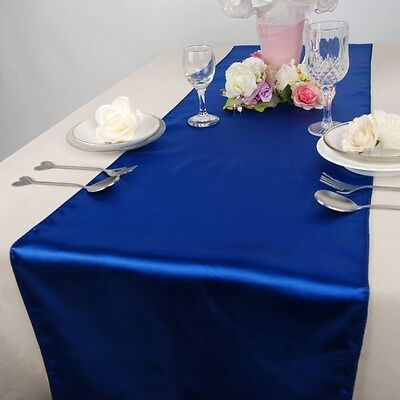 """Royal Blue Satin Table Runners 12""""x108"""" Wedding Party Decorations Made USA"""
