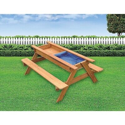 Sand & Water Picnic Table Kids Playhouse Outdoor Play Toy Sandpit Sandbox