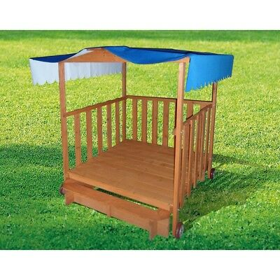 Kids Wooden Playhouse Outdoor Play Toy Sandpit with Sandbox
