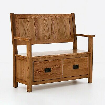 Zelah Oak Large Monks Bench / Oak Hall Bench with Drawers / Solid Wood Seating
