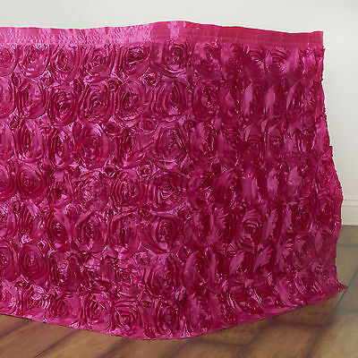 "21 feet x 29"" FUCHSIA Satin Roses Banquet Table Skirt Dinner Catering Party"