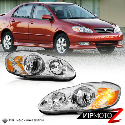 2003-08 Toyota Corolla Crystal Clear Headlight Amber Signal Lamp Left+Right Set